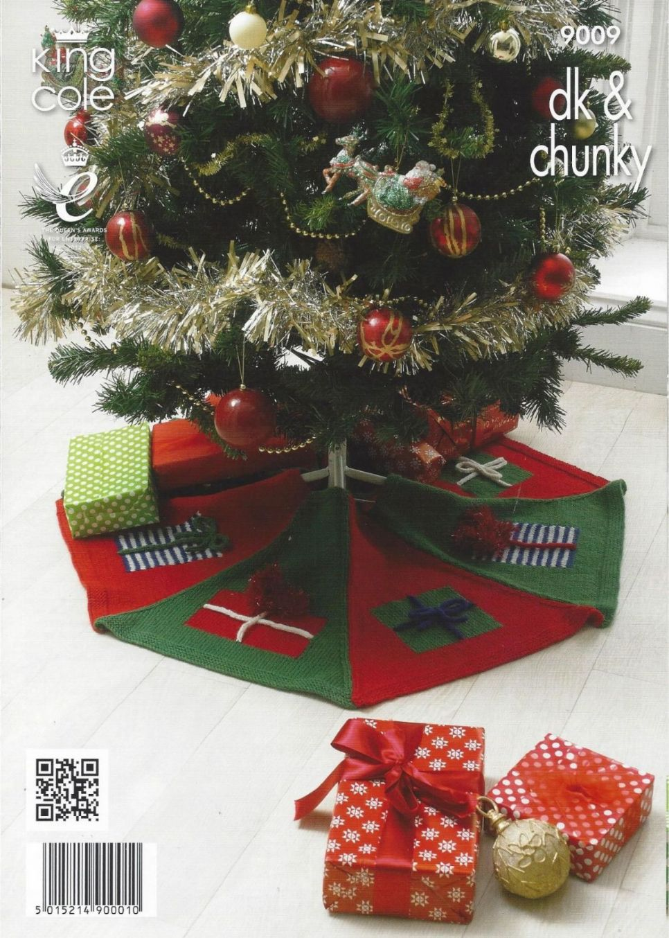 Christmas Tree Skirt Patterns.King Cole 9009 Rudolph Draught Excluder Christmas Tree Skirt And Snowman Toy Knitting Pattern